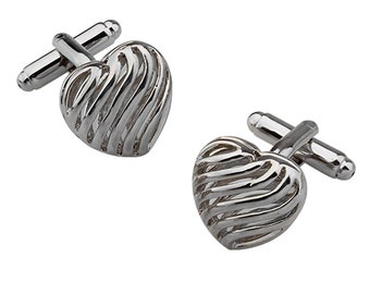 Silver Ribbon Heart Cufflinks Lovers Heart Love of Your Life Cuff Links Groom Father Bride Wedding Marriage Anniversary Father's Day