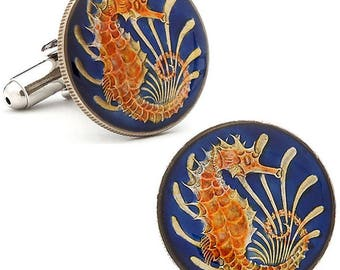 Birth Year Birth Year Enamel Cufflinks Singapore Seahorse Enamel Coin Jewelry Hand Painted Blue Enamel Orange Sea Horse Comes with Gift Box