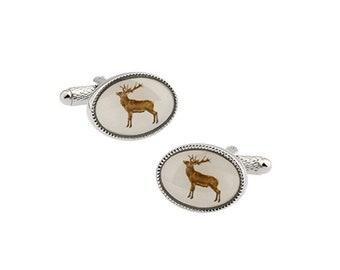 Reindeer Deer Cufflinks Silver Portrait Framed Ovel Deer Hunter Cuff Links Highly Details Comes with Gift Box