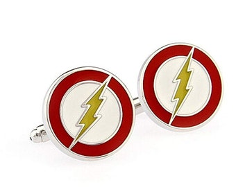 Lighting The Flash Men's Cufflinks Round Shape Metal French Wedding Shirt Cuff Buttons Silver Red Show Off Your Hero Cool Fun Collector