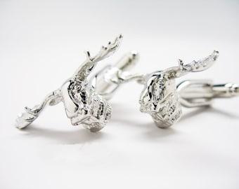 Moose Head Cufflinks Silver Tone Moose Fun Wear Hunters Hunting Cuff Links