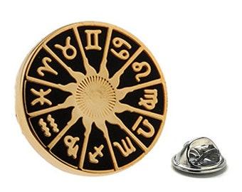 Zodiac Dial Enamel Pin Astrology Gifts, Gold Lapel Pin