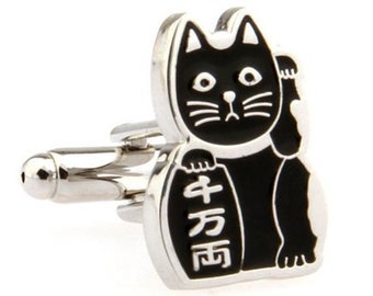 Black Japanese Cat Cufflinks Lucky Cat Bring Protection to Owner Cufflinks