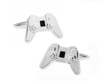 Cufflinks Silver Tone Game Controller Gamer Geek Video Console Nerdy Fun Cool Cuff Links Comes with Gift Box