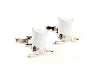 Professional Cook Cufflinks Baker White Chef Hat and Spoon Cuff Links Comes with Gift Box