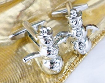 Crystals Snowman Cufflinks 3D Silver Tone Winter Wonderland Cuff Links Christmas Family Parties Work Party
