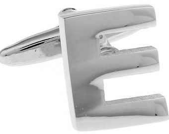 E Initial Cufflinks Silver 3-D Letter E Block English Letters Cuff Links Groom Father of the Bride Wedding Father's Day Gift Box