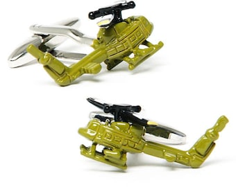 Army Helicopter Cufflinks Army Green UH-1 Huey Helicopter Cuff Links