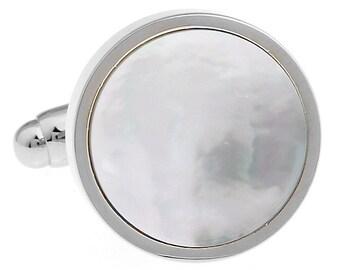 Silver Cufflinks Mother of Pearl Formal Round Pure Cuff Links Cufflinks