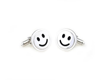 Mens Cufflinks Time To Be Happy Silver with Black Accents Smile Smiley Face Cuff Links white elephant gifts Cyber Monday
