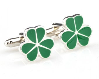 Lucky Cufflinks Green St. Patricks Clover Ireland Irish Brings Awesome Luck to Wearer Comes with Gift Box