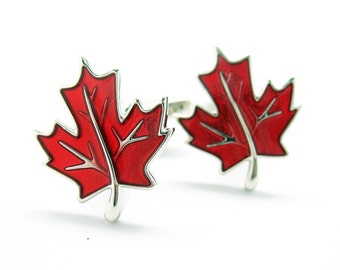 Red Maple Leaf Cufflinks The Glory of Canada Cuff Links True North Canadian Great Way to Show Your Loyalty Very Popular Fashion Classic Cuff