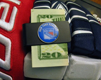 Money Clip Black Edition New York Rangers NHL Hockey Made from US State Quarter One of a Kind Very Cool Present for Dad Comes with Gift Box