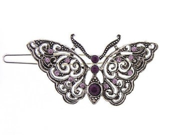 Glistening Butterfly Barrette Silver Puprle with Amethyst Color Crystals Elegant Hair Barrett