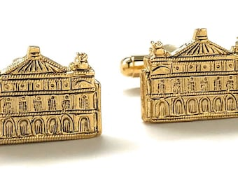 Whimsical Castle Cufflinks Gold Tone Palace Mansion Detailed Design Cuff Links Gifts for Dad Husband Gifts for Him