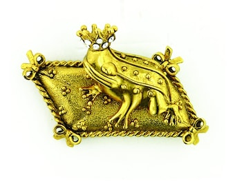 Shawl Pin, Gold Prince Charming Frog Pin