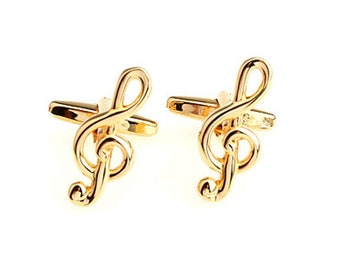 Gold Treble Clef Music Note Music Piano Orchestra Conductor Cufflinks Cuff Links