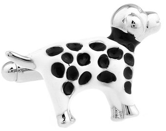 Dalmatian Cufflinks White and Black Dog Lovers Best Friend Cufflinks