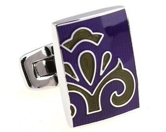 Sage Green Purple Cufflinks Bold Passion Fleur Enamel Tile  Cuff Links Solid Post Whale Tail Backing Cufflinks