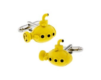 Yellow Submarine Cufflinks 3D Lots of Details Enamel Cuff Links Comes with Gift Box