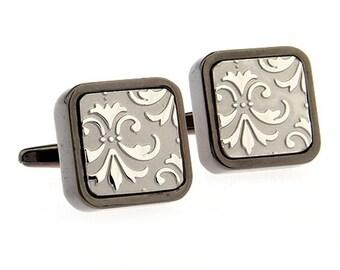Heavy Thick Gunmetal w Antique Silver Square Brushed Fleur di Lis Cufflinks Cuff Links
