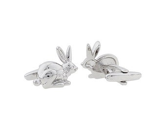 Silver Rabbit Cufflinks Lucky Rabbit Big Easter Bunny  Silver Tone Cuff Links Comes with gift Box