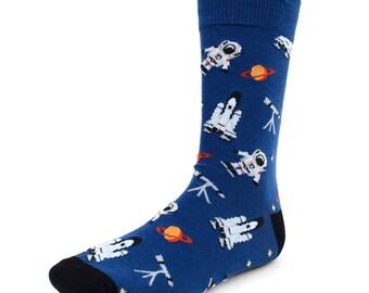Men's Astronaut Novelty Dress Socks Space Shuttle Rockets Blue