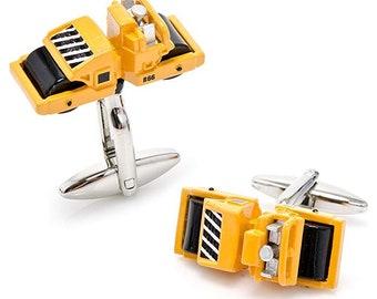 Steamroller Paver Construction Cufflinks, Yellow