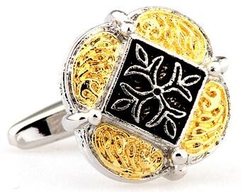 Designer Silver and Gold Cross Fleury Banded Scrolls Cufflinks Cuff Links