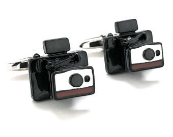 Automatic Instant Camera Cufflinks Old School Film Enthusiast Film Buff Hobby Photographer Cool Fun Unique Cuff Links Comes with Gift Box