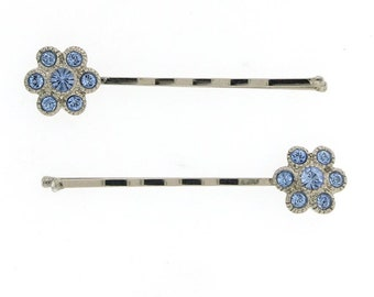Hair Jewelry Flower Floral Bobby Pins Silver Blue with Sapphire Color Crystals Elegant Hair Barrett