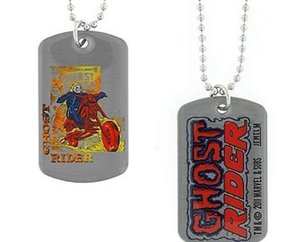 Dog Tag Marvel Comics Ghost Rider Motorcycle Fire Poster Double Sided Dog Tag Pendant Necklace vintage jewelry