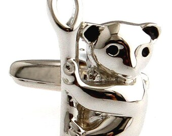 Australia Silver Koala Cufflinks Australian Koala Bear Cuff Links Bear Stuff Cool Guy Gifts Wedding Cufflinks Animal Jewelry
