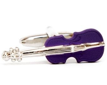 Purple Violin Cufflinks Music Cuff Links