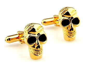 Gold Bug Eyes Skull Cufflinks Halloween Cuff Links