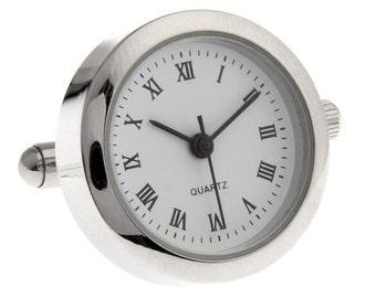 Round Working Watch Cufflinks Unique Silver Tone Cuff Links