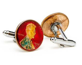 Enamel Cufflinks Hand Painted Lincoln Copper Penny Enamel Coin Jewelry Authentic US Currency Cuff Links Unique Gift Mens Cool Guy Gifts