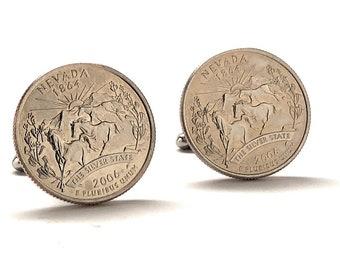 Cufflinks Nevada State Quarter Enamel Coin Jewelry Money Currency Finance Accountant Designer Las Vegas