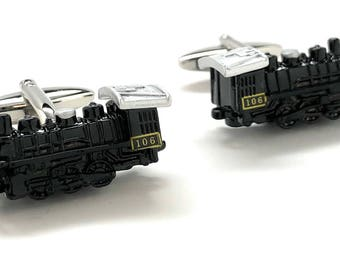 Locomotive Train Cufflinks Midnight Express Engine 106 Transportation Black Enamel 3-D Details Cool Fun Unique Cuff Links Comes Gift Box