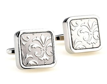 Heavy Thick Silver on Silver Square Brushed Fleur di Lis Cufflinks Cuff Links
