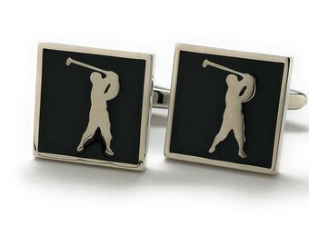 Heavy Thick Golf Cufflinks Silver Tone with Black Enamel for the Love of the Game Cuff Links Comes with Gift Box