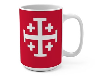 Jerusalem Cross Coffee Mug 15oz Christian Faith Crusader Cross Religious Ceramic Cup Gospel Greek Crosses Black Coffee Cup