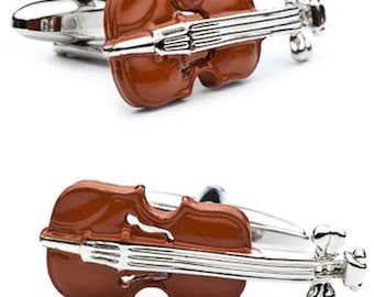 Music Collection Enamel Caramel Brown Silver Tone Viola Violin Instrument Cuff Links Music Player Orchestra Cufflinks