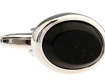 Oval Framed Silver with  Black Agate Classic Cufflinks Cuff links