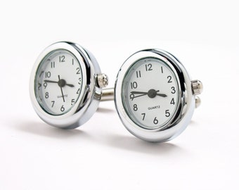 Watch Cufflinks Fully Functional Working Watch Cufflinks Unique Silver Oval Cuff Links