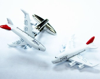 Aviation Pilot Cufflinks Jumbo Jet Jetliner Captain Airlines Transport Plane Airplane Cool Fun 3D Details Cuff Links Comes with Box
