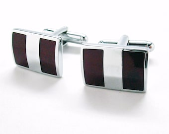 Shiny Silver Cufflinks New York Executive Stripes Cherrywood Stainless Steel Classic Post Perfect Cuff Links