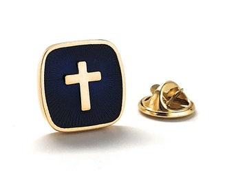 Cross Enamel Pin Religious Catholic Lapel Pin Blue Brown Gold Silver Tie Tack Round Lapel Pin Religious Faith Bible Clergy