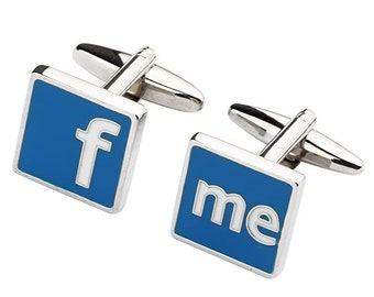 Blue Silver Facebook Me Cufflinks Social Media Retro Cuff Links White Elephant Gifts