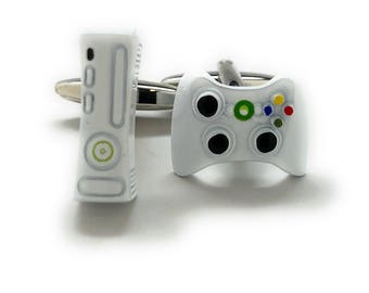 Cufflinks Video Game Controller and Console White Edition Video Gamer Cuff Links Fun Nerdy Cool Unique Comes with Gift Box